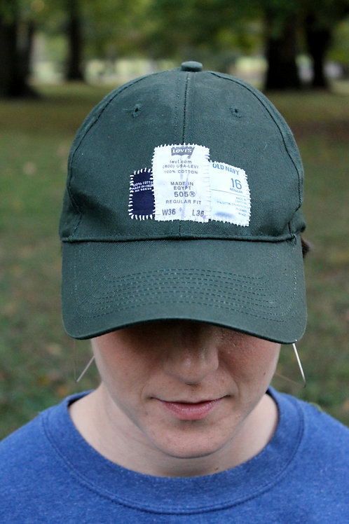 Tags hand-stitched cap - green