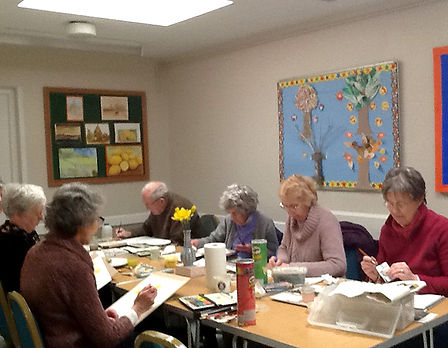 Art club in the committee room at Uley Village Hall