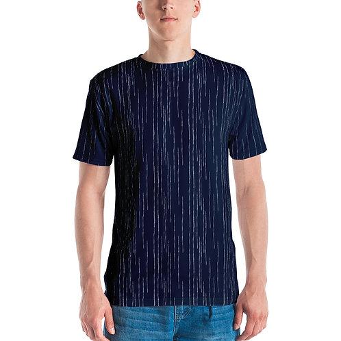 Stripped Round Neck Men's T-shirt Navy