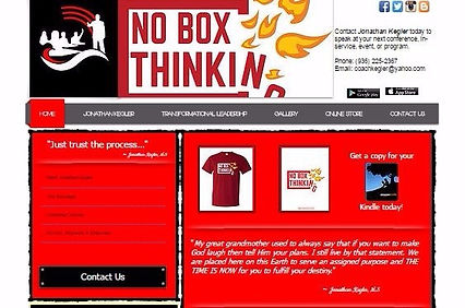 Picture of a 7 page website of No Box Thinking. Red with white writing, black logo in the upper left corner with No Box Thikinging in red text with flames on the right.