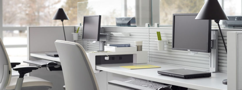 computer desk in a office