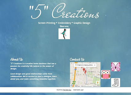 "Picture of a sample 1 page website in light blue background with white writing on the bottom left and a google map with 3 small pictures to the right of the google map. The title says ""5"" Creations with screen printing, embroidr and graphic design under title with a small white square and person figure in the square."
