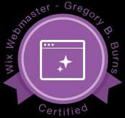 Wix Webmaster Certificate, purple circle with a black background in white writing.