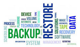 Picture of words, backup, restore, data, process, etc.