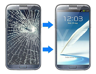 Picture of smartphone broken screen and fixed screen