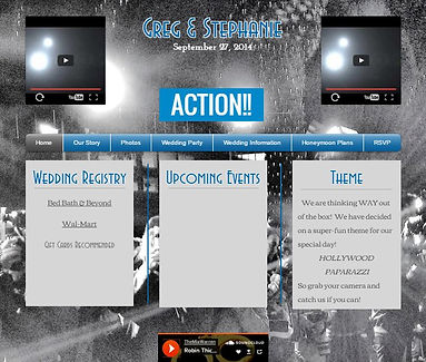 Picture of a 5 page website in Grey and Black with 3 colums of grey with blue writing and having 2 video boxes at the top left and right of the picture.
