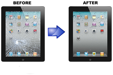 Picture of a broken tablet and fixed tablet screen