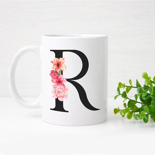 Watercolour hibiscus initial