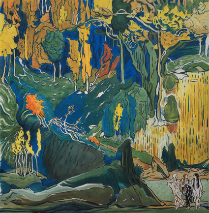 A painting of a section of a Leon Bakst set design for L'Apres-midi d'un Faun designed in 1912. Made to hang in the amphitheater of the Royal Opera House in 2019.