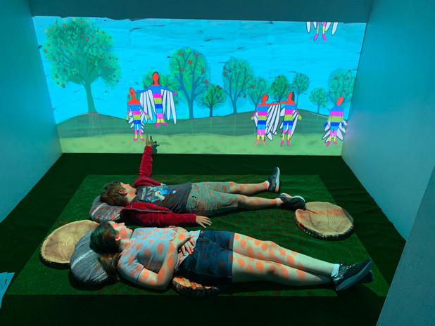 Children Watching Animation.