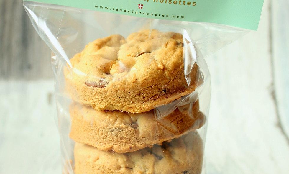 Sachet de 5 cookies Amandes, chocolat noir, chocolat lait, noisettes