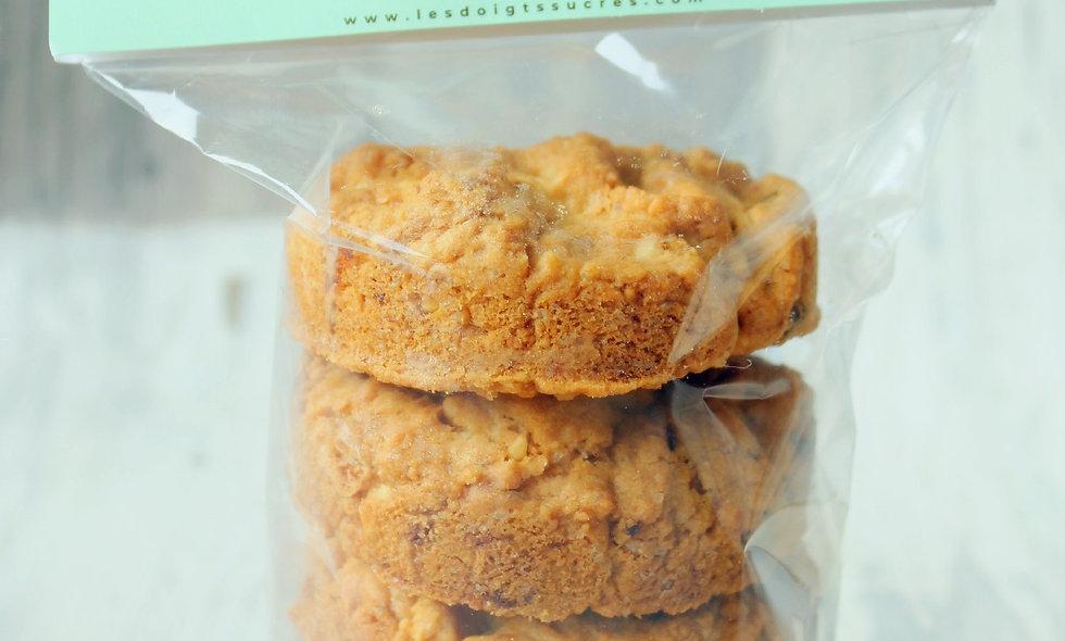 Sachet de 5 cookies chocolat blanc, amandes, cranberries et noix de cajou