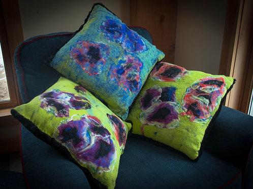 Silk Floral Pillow Set (Poppies)