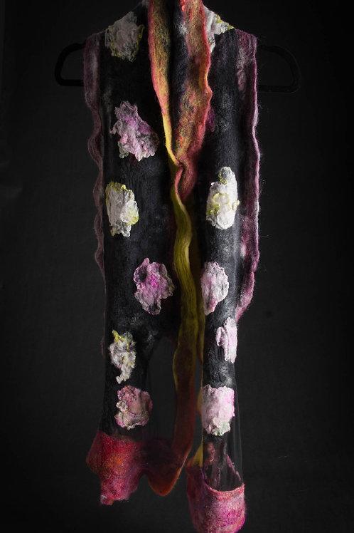 Black Silk Gauze Moonlit Flowers Scarf
