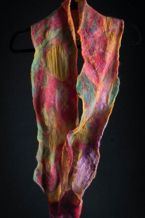 Featherweight Orange Silk Cobweb Scarf