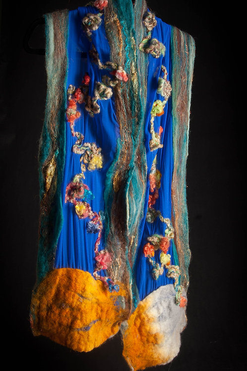 Royal Blue Chiffon Silk Stole