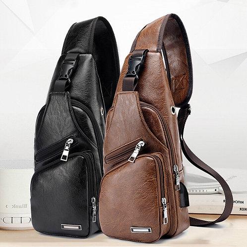 Men's USB Charging Chest Bag for Custom PU PVC Shoulder Travel Cross Body Bags