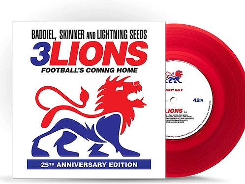 "Baddiel, Skinner & The Lightning Seeds - 3 Lions - 25th Anniversary Red Vinyl 7"""