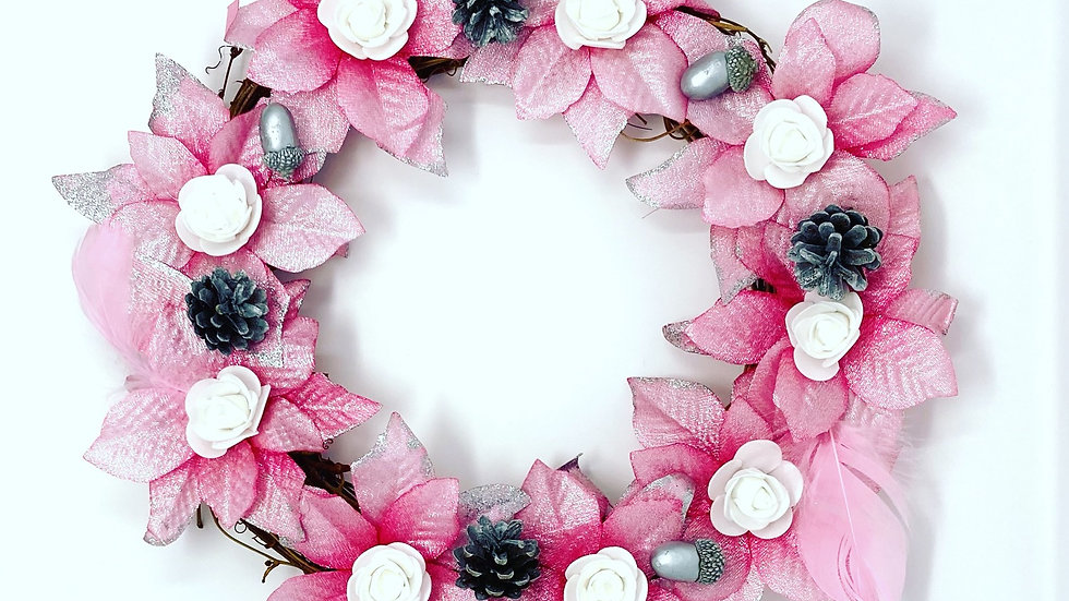 Pink Poinsettia wreath