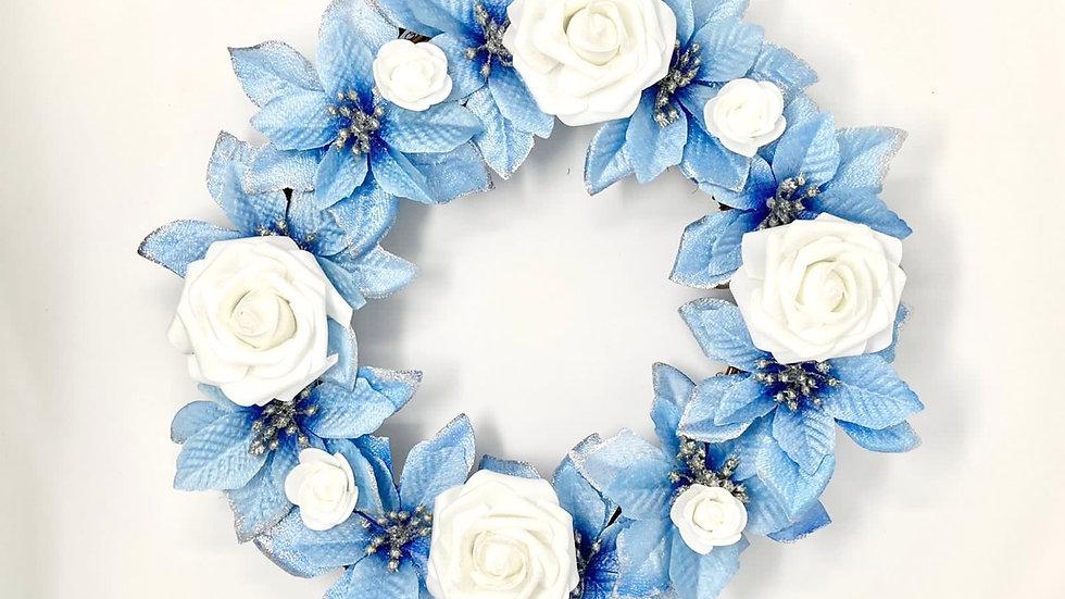 Light Blue Poinsettia Wreath