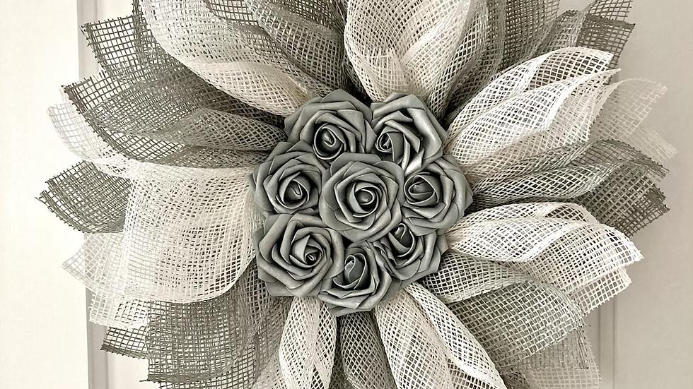 Grey Rose Wreath