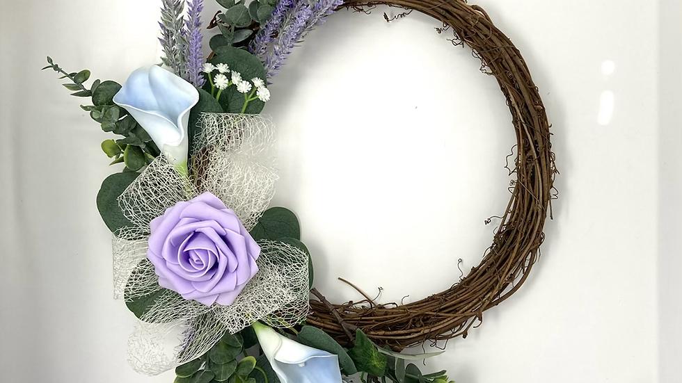 Lilac Single Rose Wreath