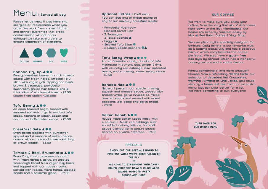 Bonobo Cafe Food Menu