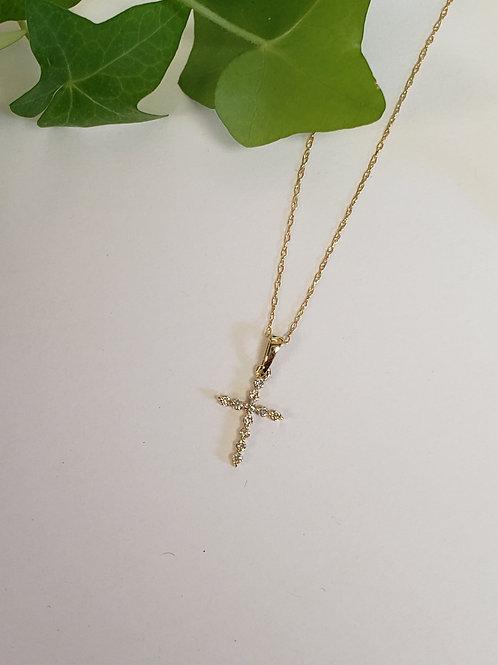 Yellow Gold Diamond Cross Necklace
