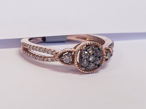 Rose Gold, Champagne and White Diamond Ring W/ Split Shank