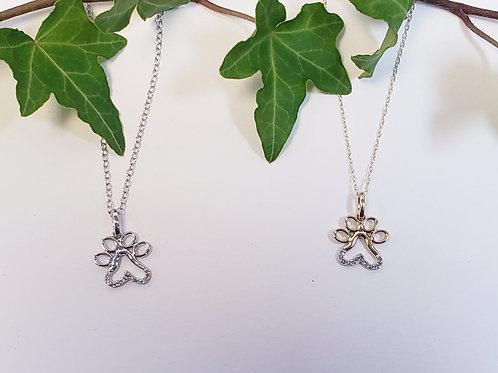Paw Print Necklace W/Diamonds