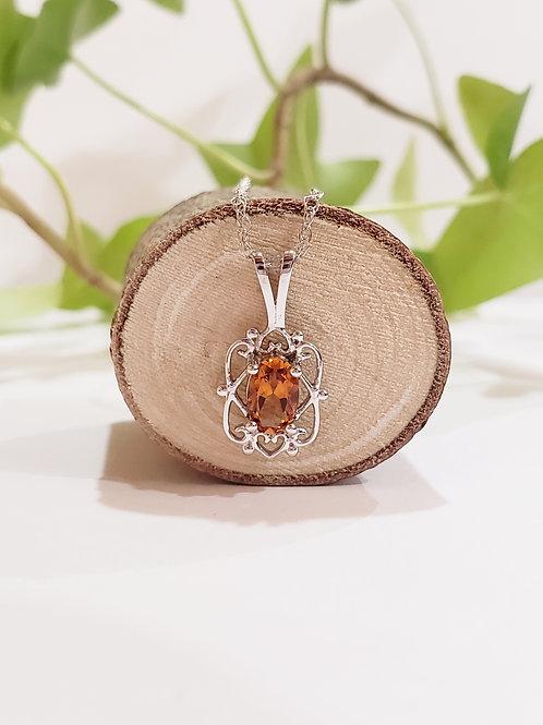 Citrine Necklace W/ Heart Filigree Design