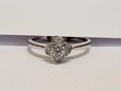 Diamond Flower Top Engagement Ring