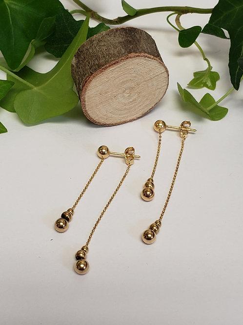 Bead and Chain Post Earrings