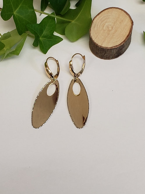 Oval Disk Leverback Dangle Earrings