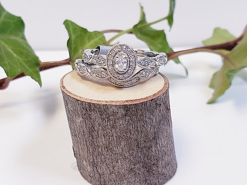 Oval Halo Engagement Ring W/ Curved Diamond Band