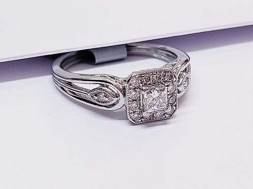 Princess Cut Halo W/ Design Shank