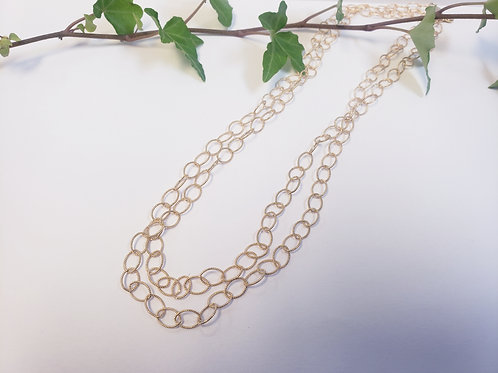 Oval Textured Link Necklace