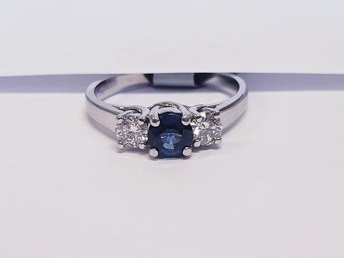 3 Stone Diamond and Sapphire Ring