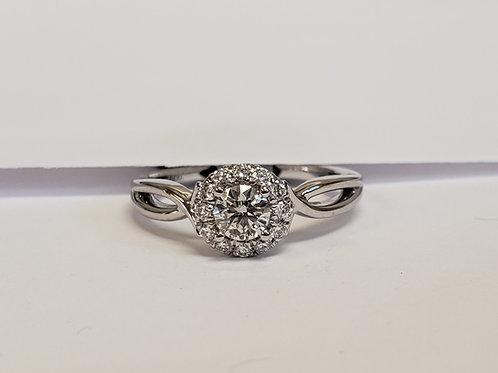 Round Halo Engagement Ring W/ Split Shank