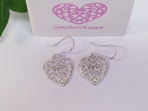 Heart W/ Key Dangle Earrings