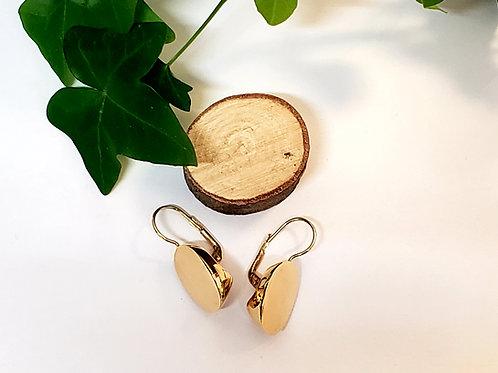Gold Disk Leverback Earrings