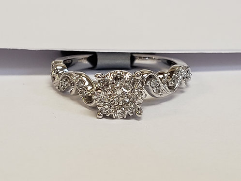 Diamond Floral Design Engagement Ring W/ Matching Band