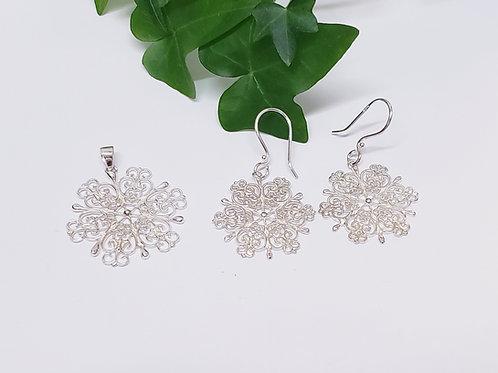 Snowflake Pendant W/ Matching Earrings
