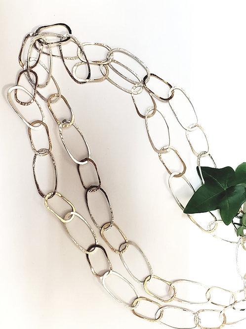 Hammered Oval Link Necklace