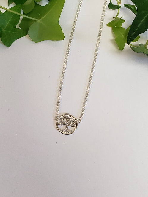 Small Single Family Tree Necklace W/ Matching Earrings