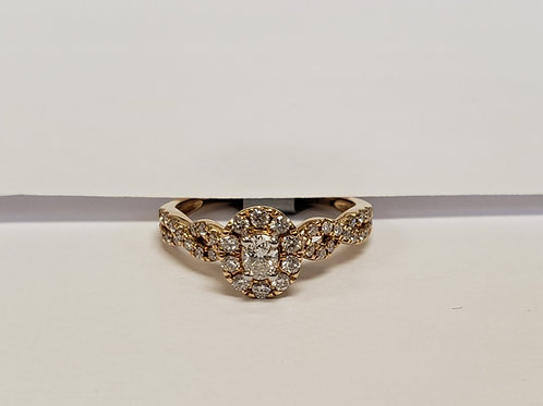 Oval Halo Engagement Ring W/ Side Stones & Twist Shank