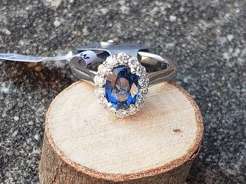 Oval Sapphire W/ Diamond Halo