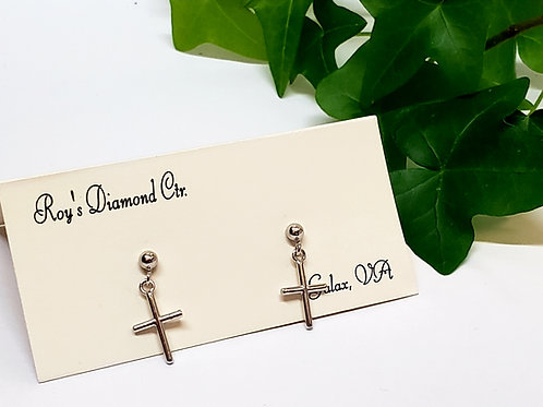 Cross Dangle Post Earrings