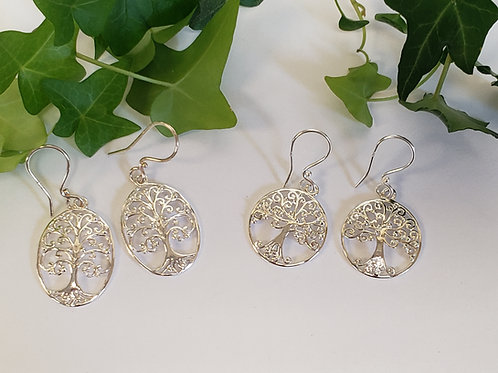 Medium and Small Family Tree Dangle Earrings
