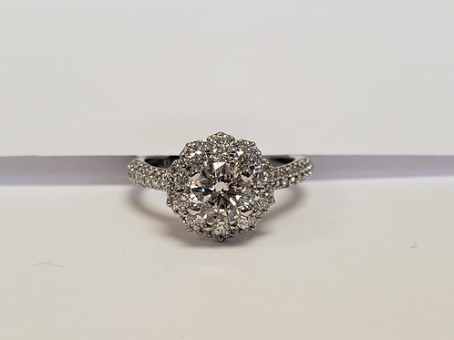 Round Halo Engagement Ring W/ Side Stones